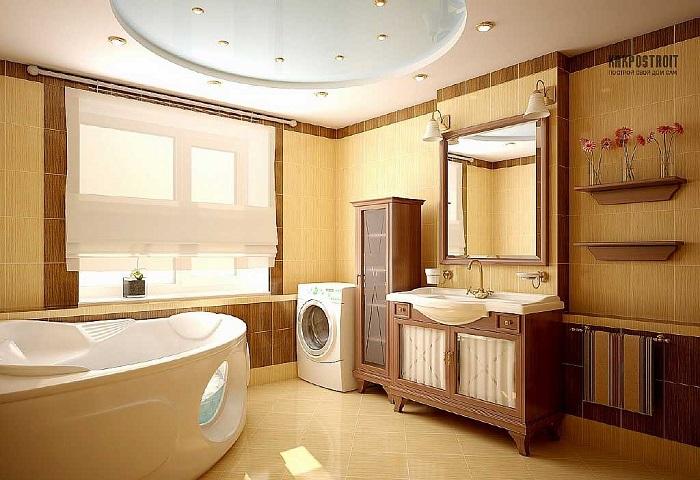 Натяжной потолок в ванной комнате СПб