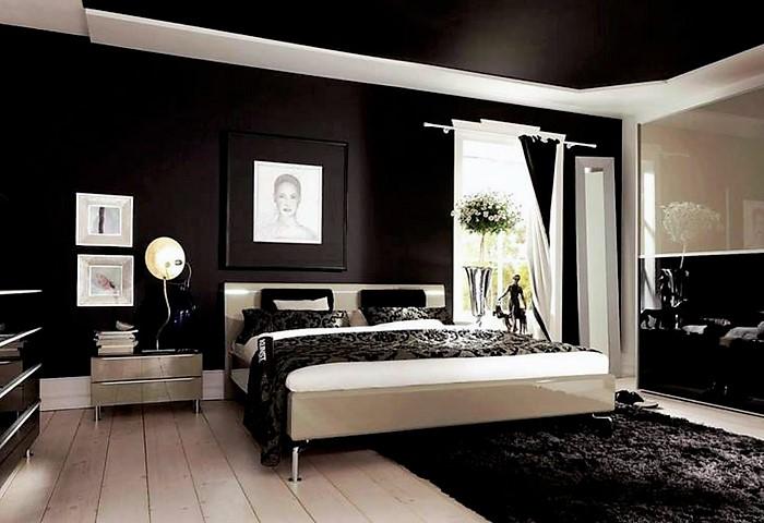 Черный сатиновый натяжной потолок в спальне