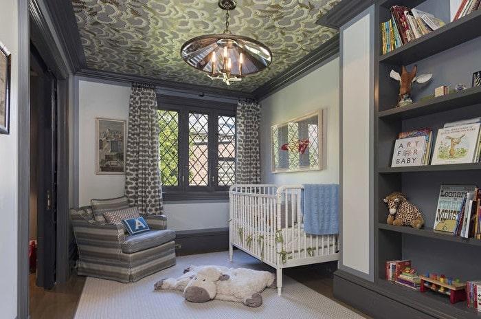 Дизайнерский ремонт детской с фактурным потолком