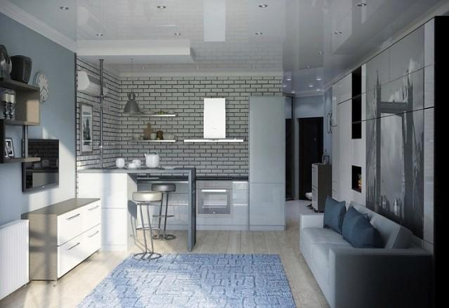 Белый глянцевый натяжной потолок в однокомнатной квартире
