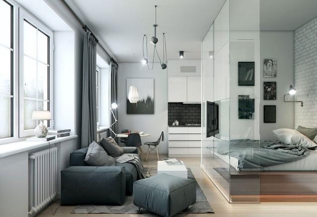 Белый натяжной потолок в светлой квартире