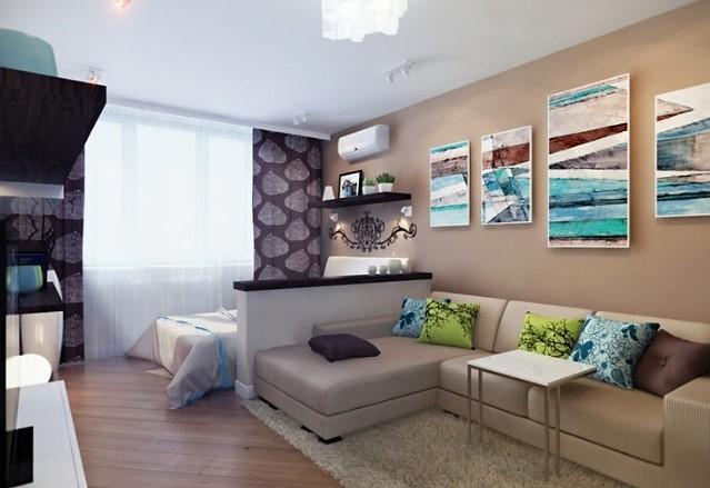 Матовый натяжной потолок в просторной жилой комнате