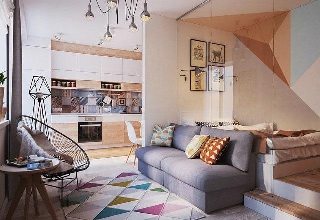 Белый матовый натяжной потолок в квартире-студии