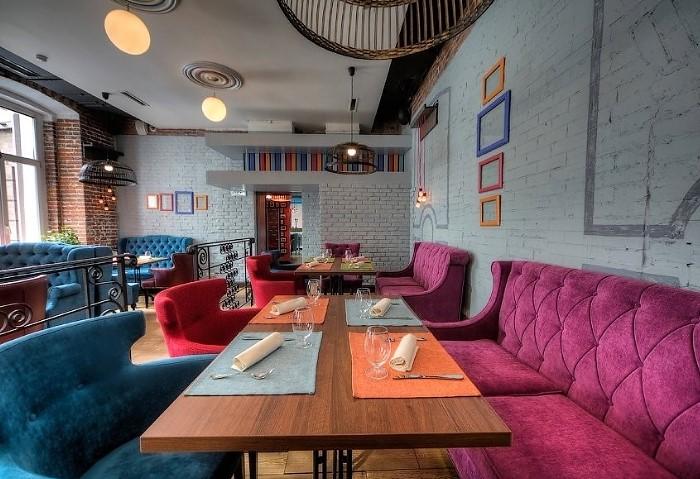 Натяжные потолки в кафе с элементами Лофта