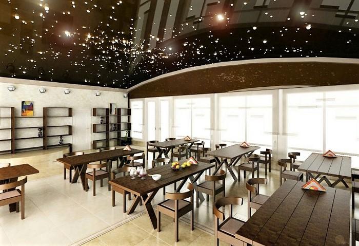 """Натяжные потолки """"Звёздное небо"""" в просторном кафе"""